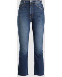 Mother Hustler Ankle Fray Cropped Jeans - Blue