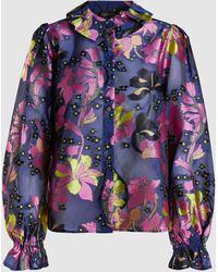 Stine Goya Autumn Floral-print Sheer Shirt - Blue