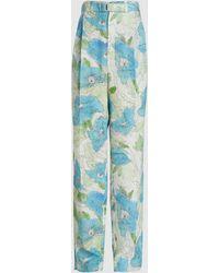 Lemaire Floral Print Pleated Silk-blend Pants - Blue