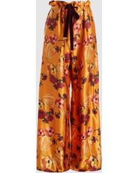 Mother Of Pearl - Lottie Printed Silk-satin Trousers - Lyst