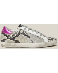 Golden Goose Deluxe Brand Superstar Snake Print Pink Tab Leather Sneakers - Multicolour