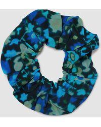 Ganni Printed Mesh Scrunchie - Blue