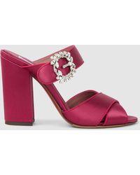 Tabitha Simmons - Reyner Embellished Satin Block-heel Sandals - Lyst