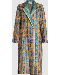 Forte Forte Flower Print Collared Jacquard Coat - Blue