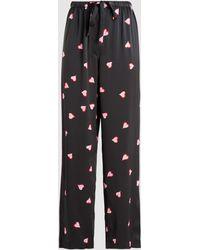 Marc Jacobs Heart Print Silk Pj Pants - Black