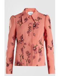 Erdem Floral Embroidered Peplum Jacket - Pink