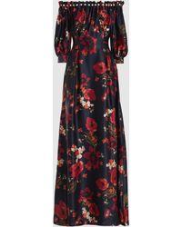 Mother Of Pearl - Bertha Long Sleeve Floral Silk Dress - Lyst
