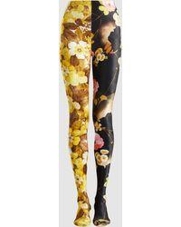 Richard Quinn 50/50 Floral-print Velvet Leggings - Yellow