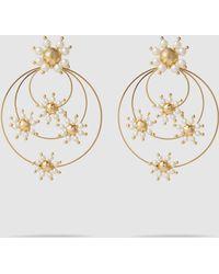 Rosantica Daisy Pearl Flower Earrings - Metallic