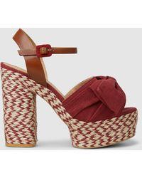 Castaner Adonis Canvas Platform Sandals - Red