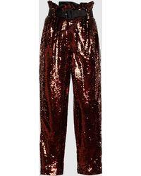 Racil Divine Paper Bag Waist Sequined Pants - Brown
