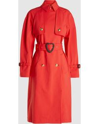 ESCADA Heart-belt Cotton-blend Trench Coat - Red