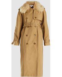 Elizabeth and James - Stratford Oversized Fur Collar Trench Coat - Lyst