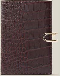 Smythson Mara Croc-effect Leather Passport Cover - Brown