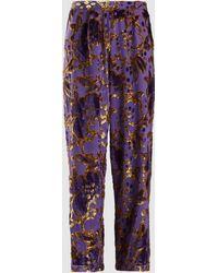 Anna Sui Magic Moments Metallic Devoré Pants - Purple