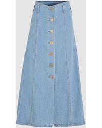 Nanushka Roja A-line High Waisted Denim Skirt - Blue