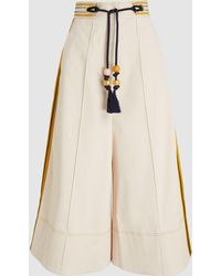 Peter Pilotto - Embroidered Cotton-blend Gabardine Culottes - Lyst