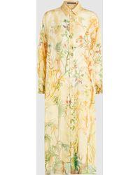 Alberta Ferretti - Printed Silk-organza Shirt Dress - Lyst