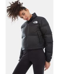 The North Face Women's Nuptse Cropped Jacket Tnf - Black