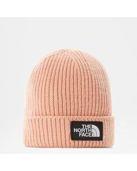The North Face Bonnet À Revers Tnf Logo Box Cafe Creme - Rose