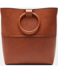 Theory - Large Hoop Tote With Hoop In Leather - Lyst