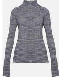 Theory - Wool Wide Rib Mock Pullover - Lyst