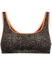 The Upside Jasmine Neon-trimmed Leopard-print Bikini Top - Green