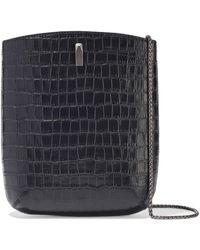the VOLON Key Croc-effect Leather Bucket Bag Black