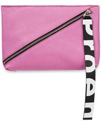 Proenza Schouler Zip Textured-leather Pouch - Pink