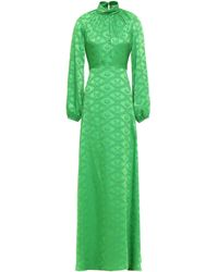 Mary Katrantzou Gathered Satin-jacquard Gown Bright Green