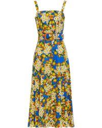 Borgo De Nor Camilla midikleid aus baumwollpopeline mit floralem print und gürtel - Blau