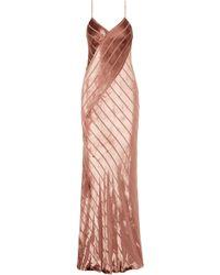 Michelle Mason Open-back Devoré-velvet Gown Antique Rose - Pink
