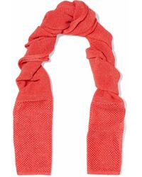 M Missoni - Open And Crochet-knit Scarf Coral - Lyst