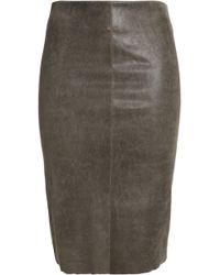 DROMe - Distressed Leather Pencil Skirt - Lyst