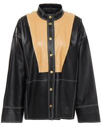 Stand Studio Two-tone Leather Top - Black
