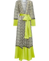 We Are Leone Belted Satin-paneled Snake-print Silk-chiffon Robe Lime Green