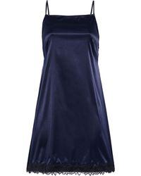 Myla Aster Lace-trimmed Stretch-satin Chemise - Blue