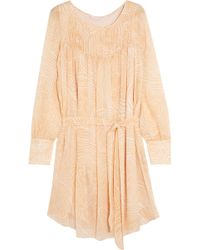 See By Chloé - Belted Printed Silk-georgette Dress Pastel Orange Size 38 -  Lyst