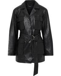 Muubaa Chloe Belted Leather Jacket - Black