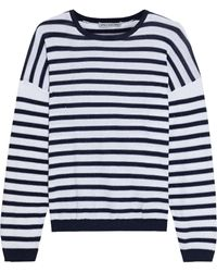 Cotton by Autumn Cashmere Sequin-embellished Striped Cotton Jumper - White