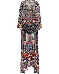 Camilla On My Own Cold-shoulder Printed Silk Crepe De Chine Maxi Dress Black
