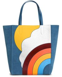 Anya Hindmarch - Ebury Smooth And Snake-effect Leather-appliquéd Suede Tote - Lyst
