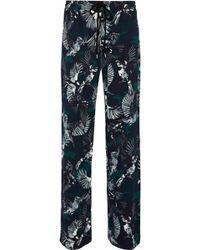 Markus Lupfer - Agnes Printed Crepe De Chine Wide-leg Trousers - Lyst