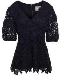 Lela Rose Guipure Lace Top - Black