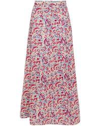 Antik Batik Cherie Printed Cotton Maxi Skirt - Red