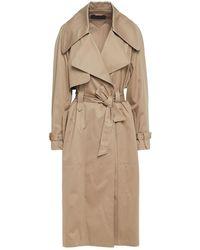 Alberta Ferretti Belted Cotton-blend Gabardine Trench Coat - Natural