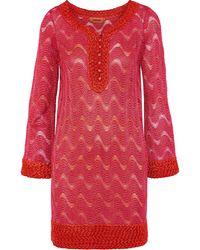 Missoni Crochet-trimmed Metallic Knitted Mini Dress Red