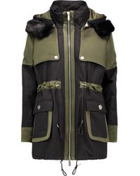 Karl Lagerfeld Stormy Hooded Faux Fur-trimmed Twill And Sateen Coat - Multicolour