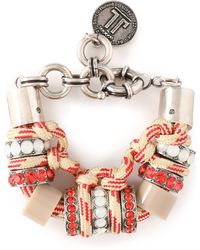 Lanvin - Silver-tone, Cord, Resin And Crystal Bracelet - Lyst