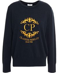 Claudie Pierlot Embroidered Wool And Cashmere-blend Sweater Navy - Blue